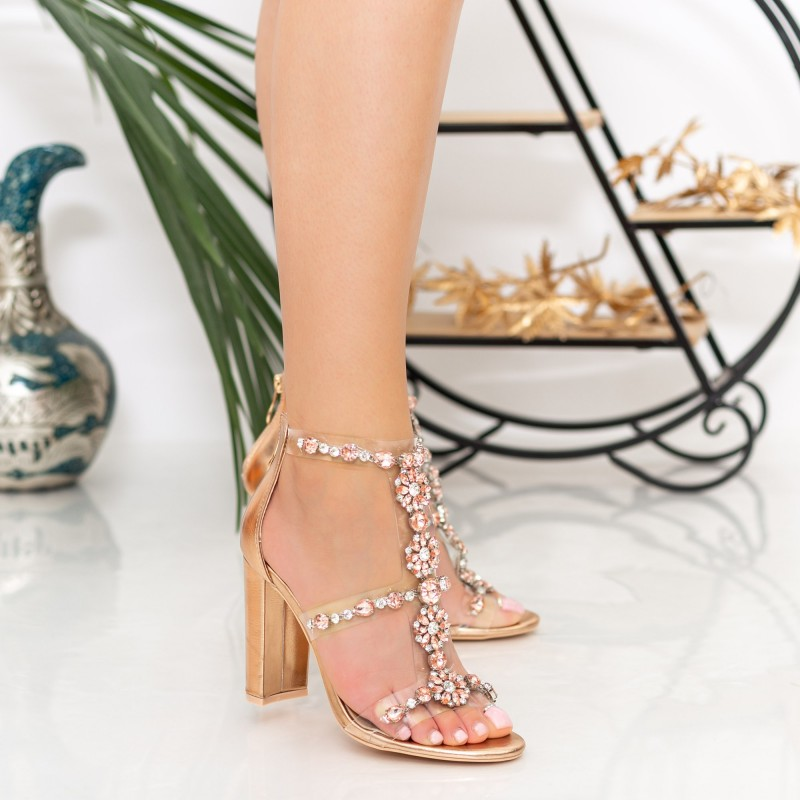 Sandale Dama cu Toc gros XKK221 Champagne Mei