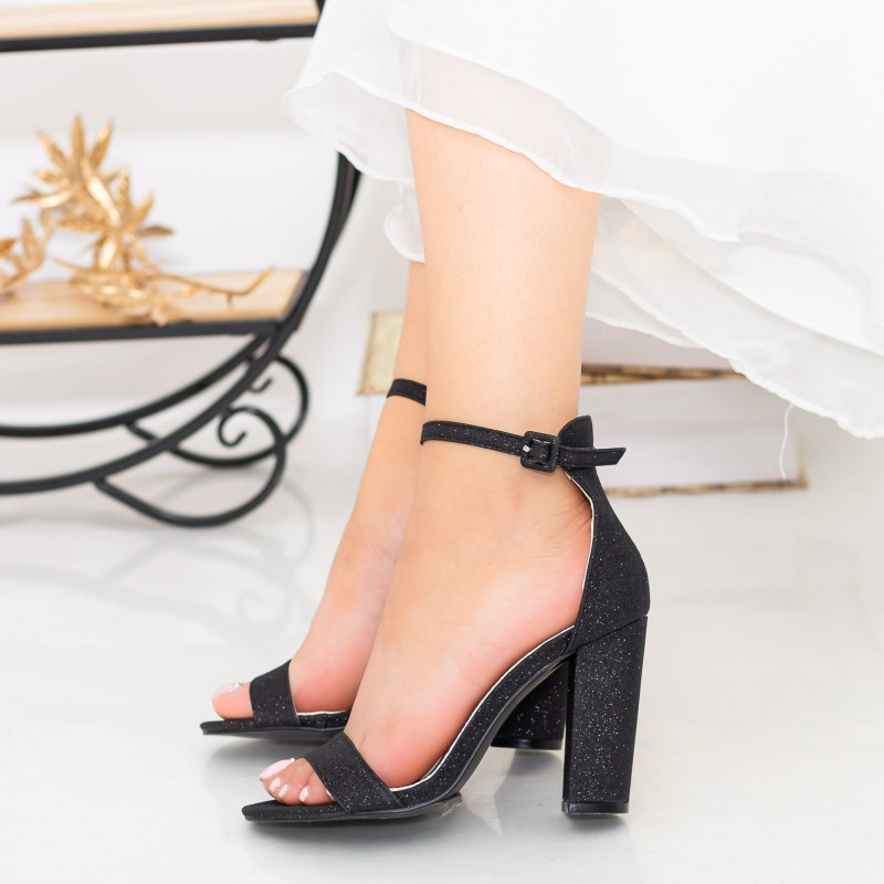Sandale Dama cu Toc gros GE29A Black Mei