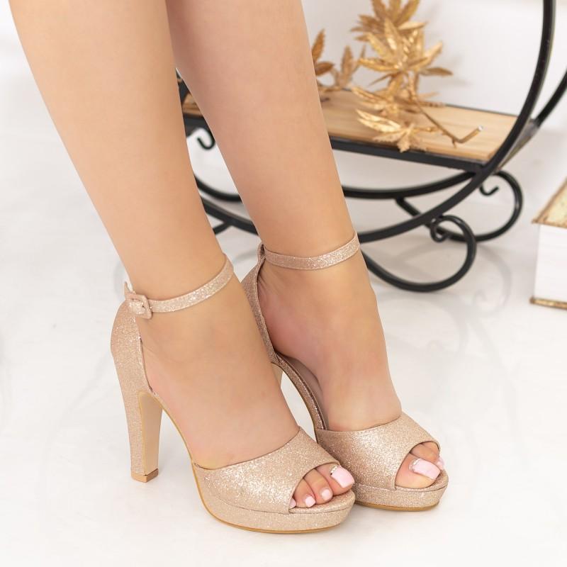 Sandale Dama cu Toc subtire si Platforma XD130A Champagne Mei