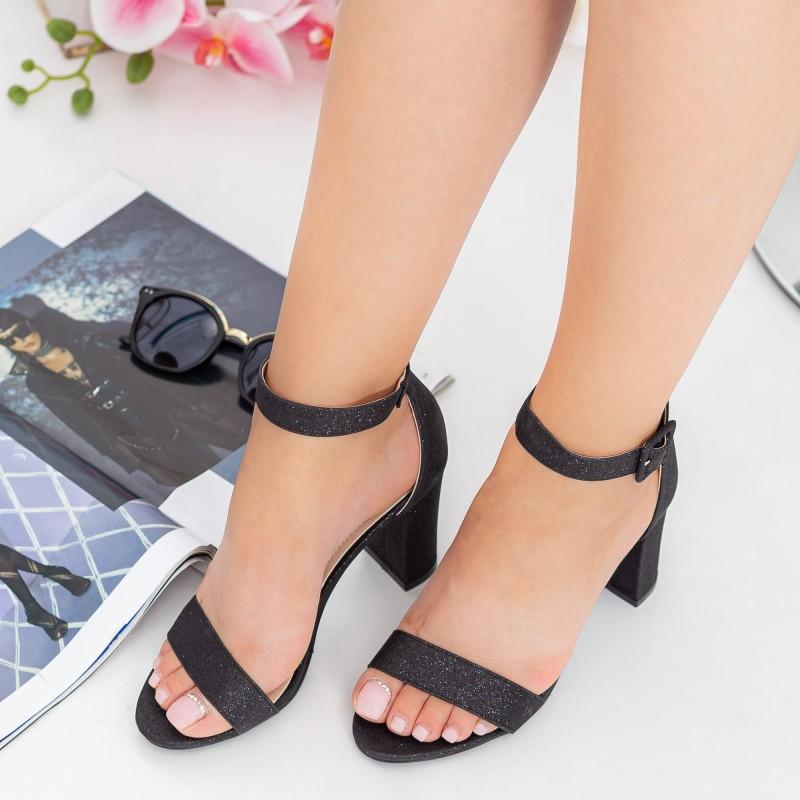 Sandale Dama cu Toc gros YXD10A Black Mei
