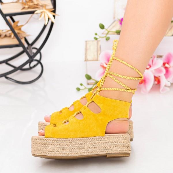 Sandale Dama cu Platforma OM5349 Yellow Small Swan