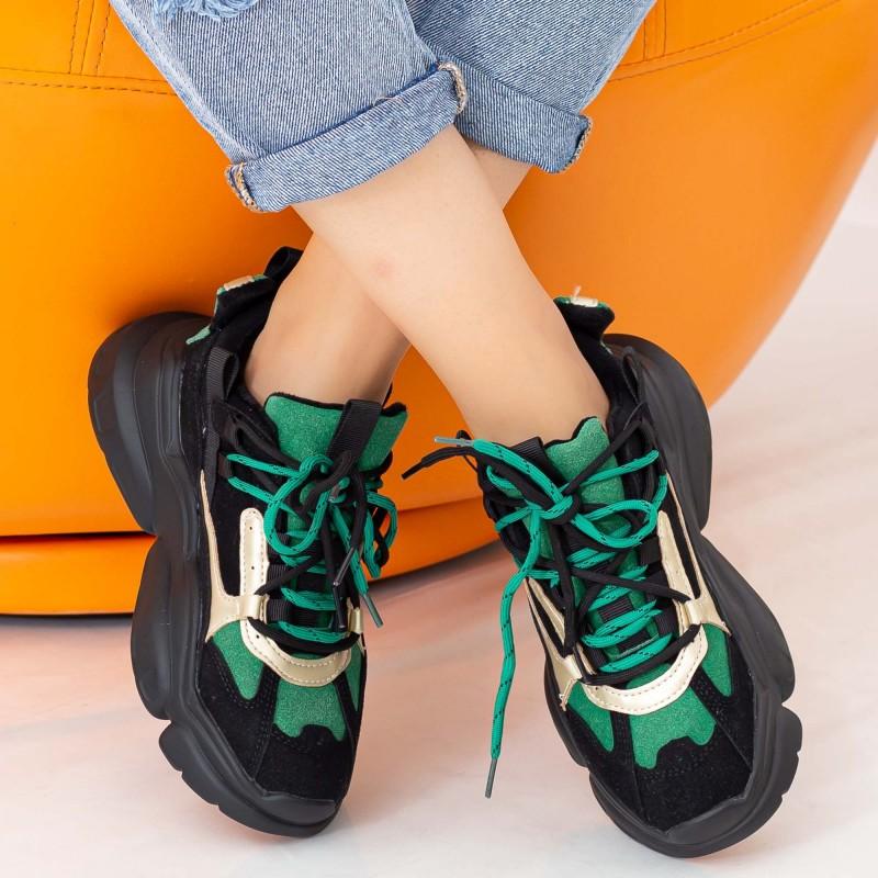Pantofi Sport Dama cu Platforma LGYED3 Negru-Verde Mei