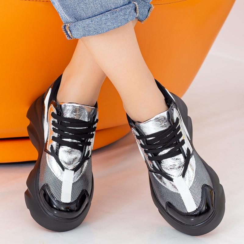 Pantofi Sport Dama cu Platforma 191 PSDP Black-Silver Mei