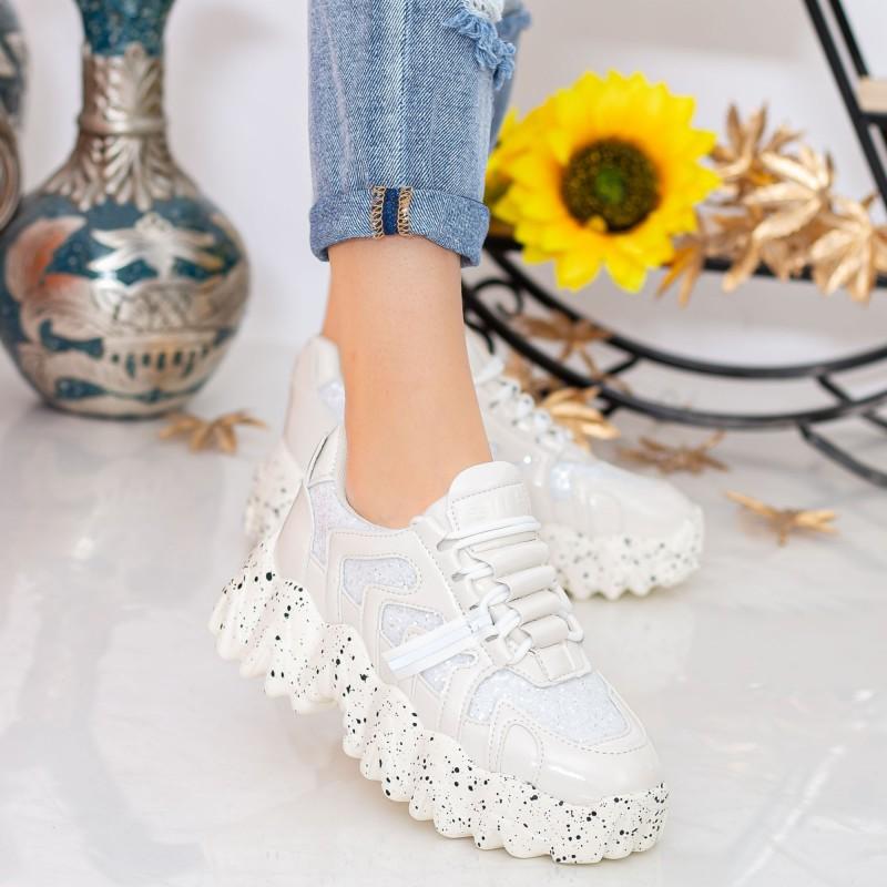 Pantofi Sport Dama cu Platforma NX98 White Mei