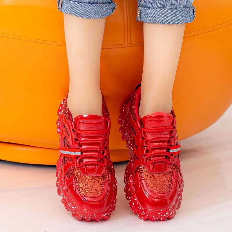 Pantofi Sport Dama cu Platforma NX98 Red Mei