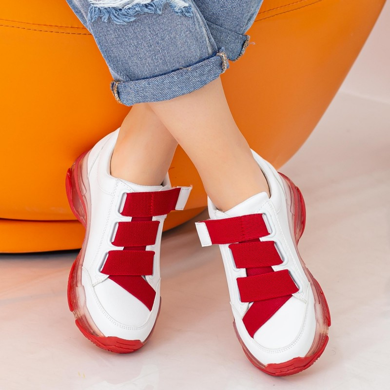 Pantofi Sport Dama SZ218 White-Red Mei