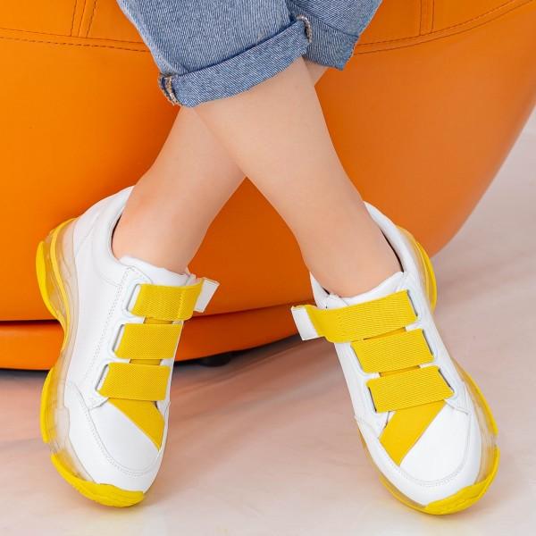 Pantofi Sport Dama SZ218 White-Yellow Mei
