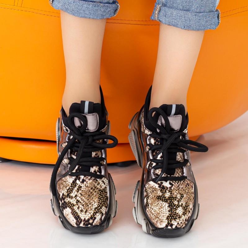 Pantofi Sport Dama cu Platforma SZ232 Black-Gold Mei