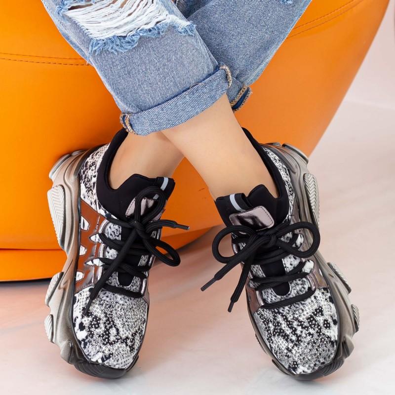 Pantofi Sport Dama cu Platforma SZ232 Black-Guncolor Mei