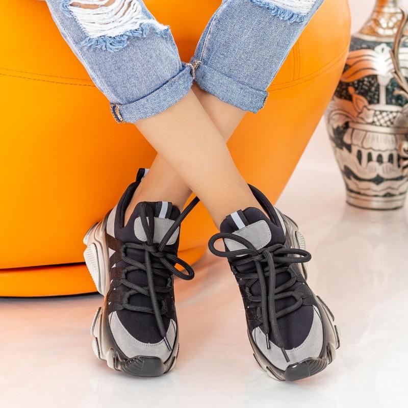 Pantofi Sport Dama cu Platforma SZ233 Black-Grey Mei