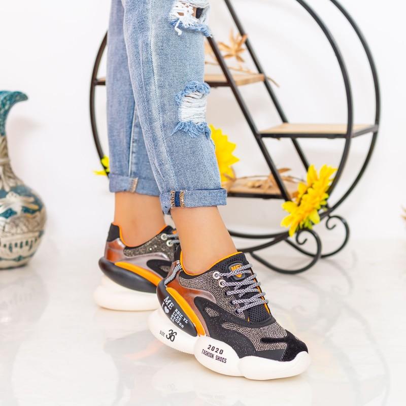 Pantofi Sport Dama cu Platforma SZ237 Black Mei