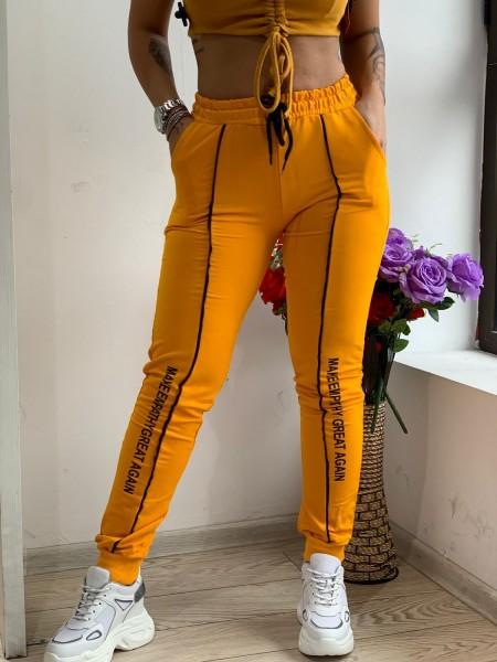 Pantaloni Dama HP1801 Galben Fashion