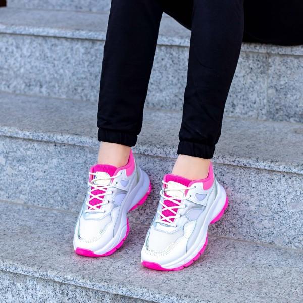 Pantofi Sport Dama 23-55 Alb-Roz Mei