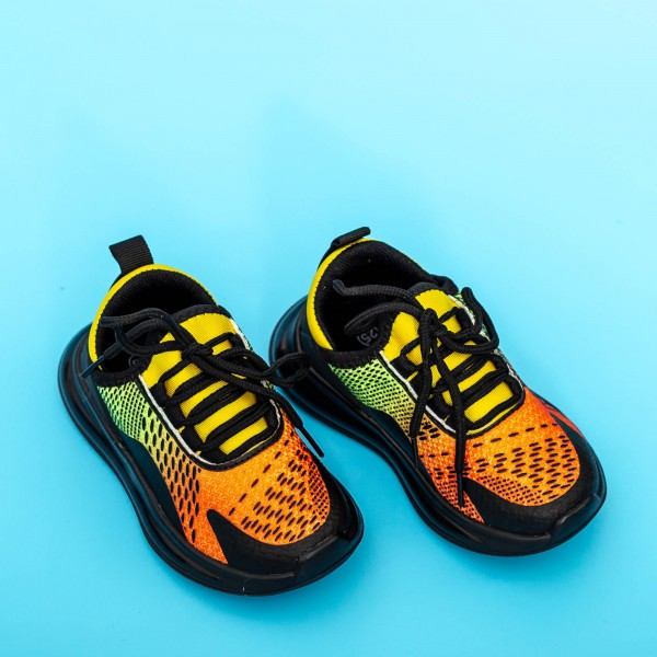 Pantofi Sport Baieti 5058B Negru-Galben Mei