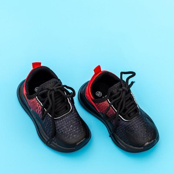 Pantofi Sport Baieti 5058B Negru-Rosu Mei
