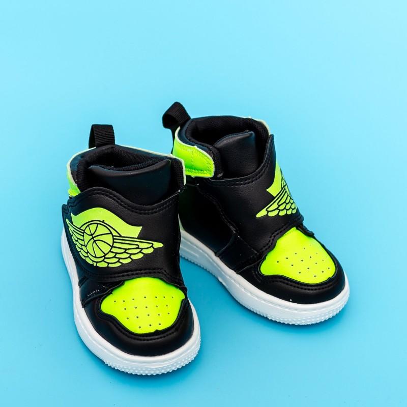 Pantofi Sport Baieti KJ05 Negru-Verde Mei