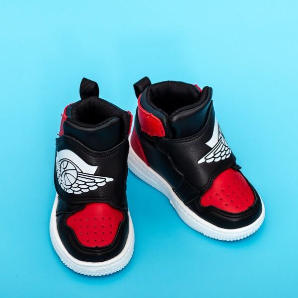 Pantofi Sport Baieti KJ05 Negru-Rosu Mei