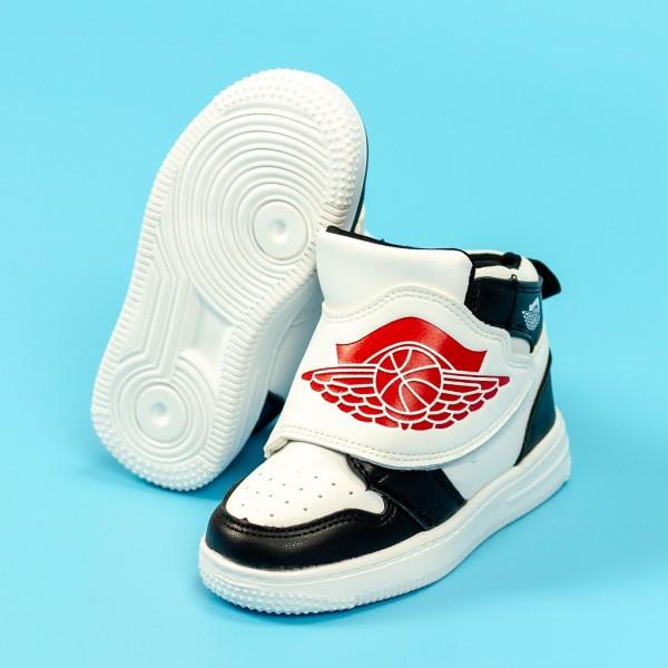 Pantofi Sport Baieti KJ06 Negru-Alb Mei