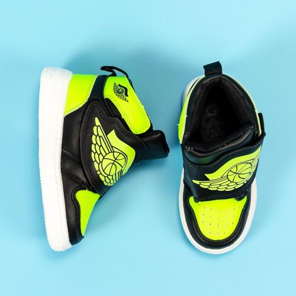 Pantofi Sport Baieti KJ06 Negru-Verde Mei
