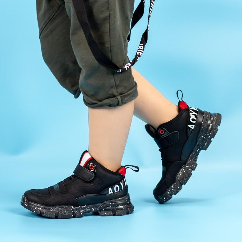Pantofi Sport Baieti MQ55 Negru-Rosu Mei