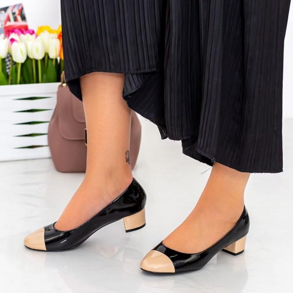 Pantofi cu Toc 063-5 Bej-Negru Hebe