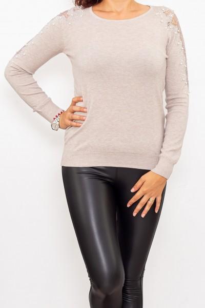 Bluza Dama cu maneca lunga D253 Bej Fashion