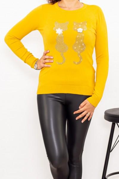 Bluza Dama cu maneca lunga D567 Galben Fashion