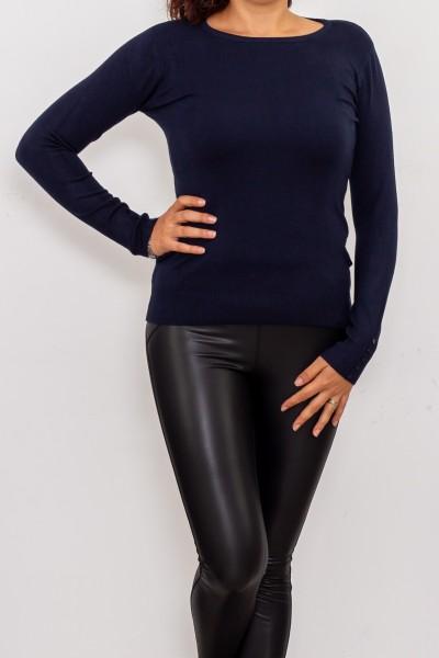 Bluza Dama cu maneca lunga D569 Albastru inchis Fashion