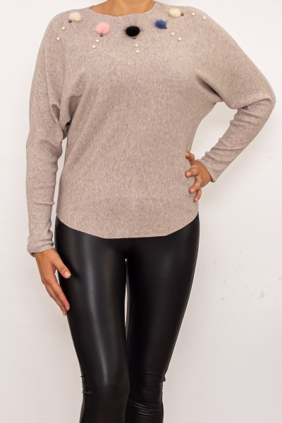 Blua Dama cu maneca lunga D541 Bej Fashion