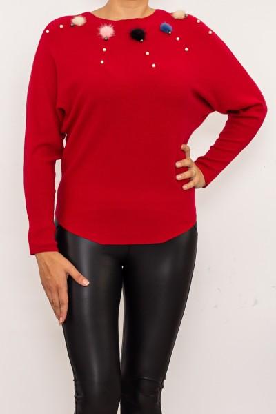 Blua Dama cu maneca lunga D541 Rosu Fashion