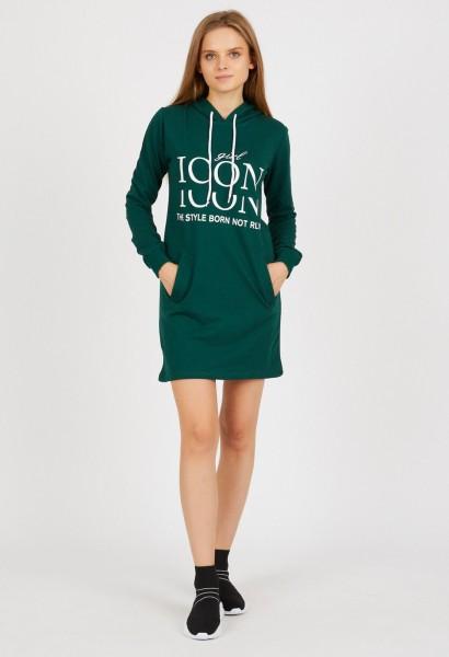 Rochie Dama stil hanorac 9079-1 Verde Adrom