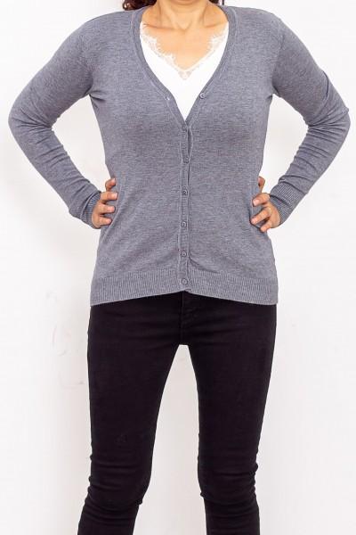 Bluza Dama cu nasturi QF1851-6 Gri Fashion