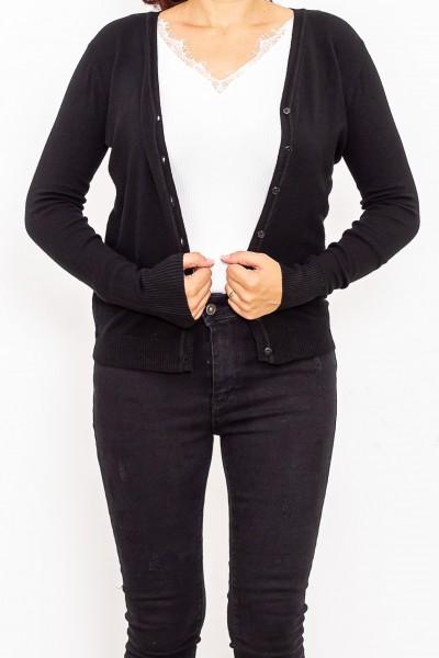 Bluza Dama cu nasturi QF1851-6 Negru Fashion