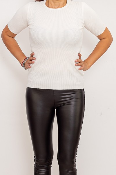 Bluza Dama cu maneca scurta QF5079-3 Alb Fashion