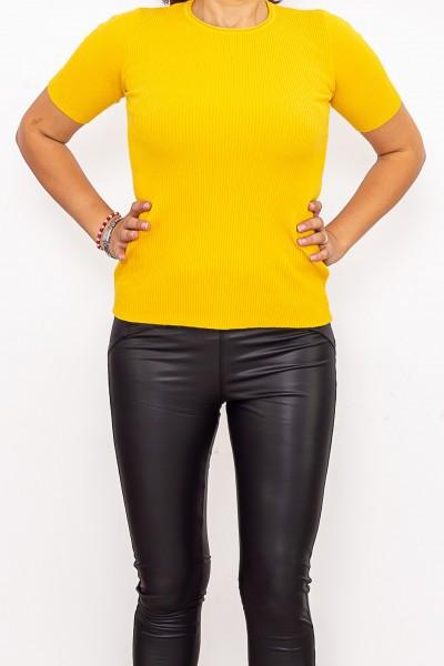 Bluza Dama cu maneca scurta QF5079-3 Galben Fashion