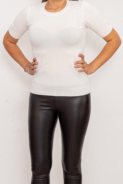 Bluza Dama cu maneca scurta QF5017-5 Alb Fashion