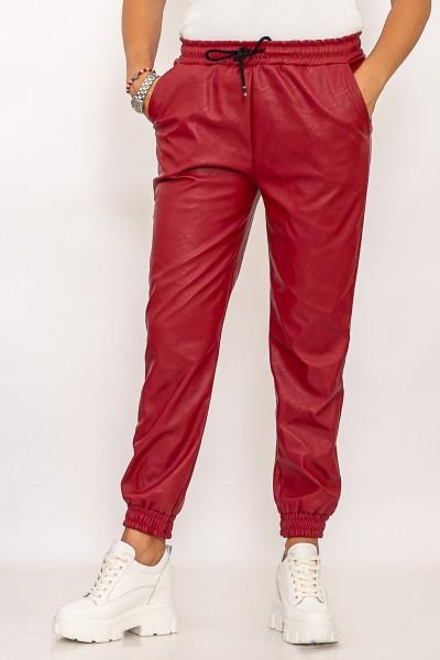 Pantaloni Dama din piele ecologica 10601 Visiniu Fashion