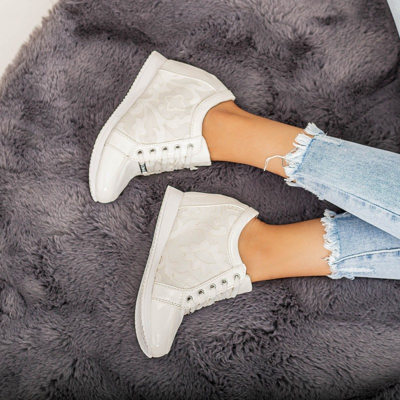 Pantofi Sport Dama cu Platforma 768 Alb Mei