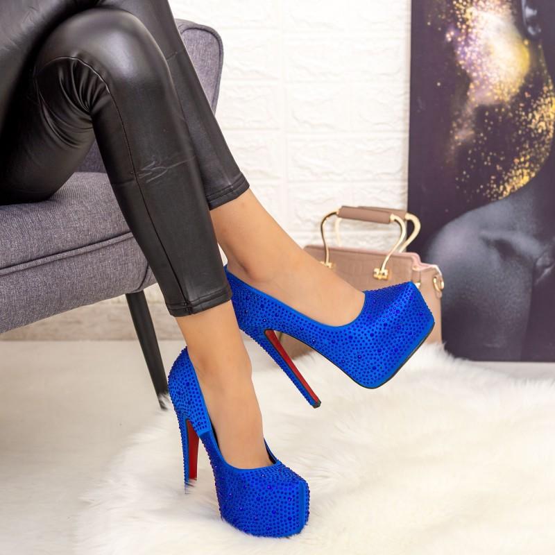 Pantofi cu Toc subtire si Platforma RZ39 Albastru Mei