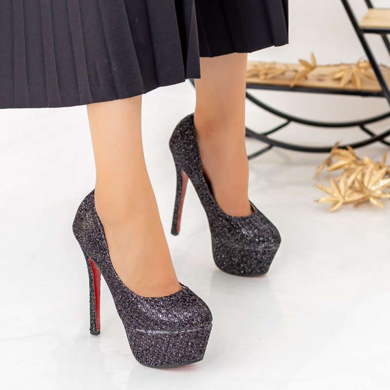Pantofi cu Toc subtire si Platforma Y210 Negru Mei