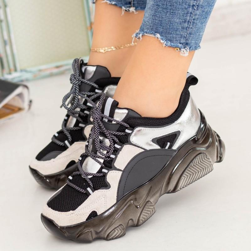 Pantofi Sport Dama SZ268 Negru-Argintiu Mei