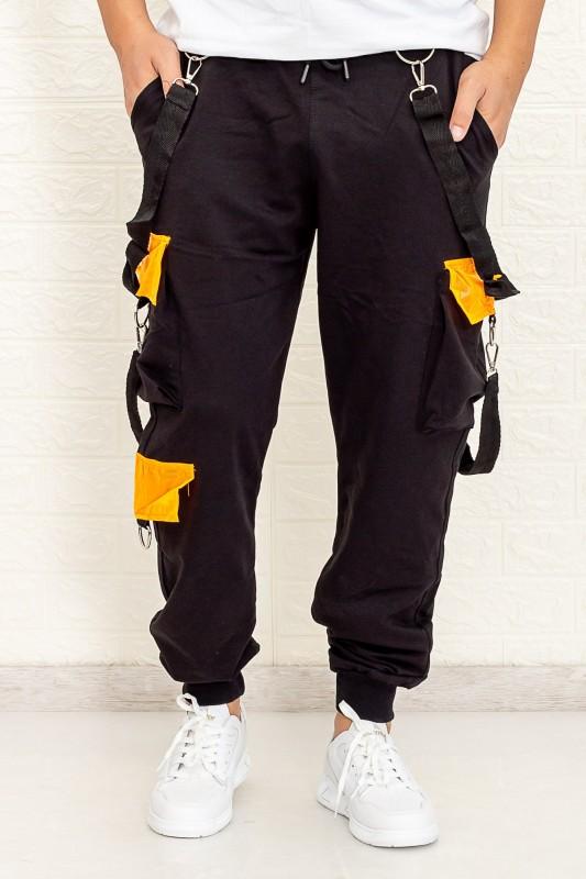 Pantaloni Barbati HP2002 Negru-Portocaliu Fashion