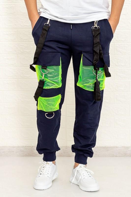 Pantaloni Barbati HP2002 Albastru inchis-Verde Fashion