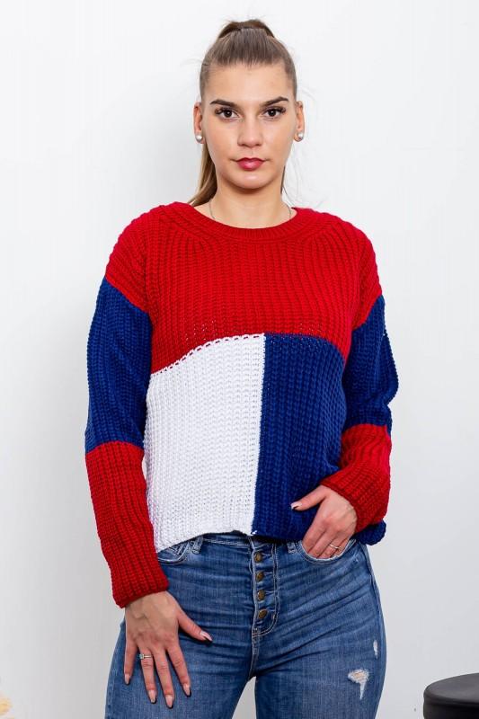 Pulover Dama 433 Rosu-Alb-Albastru Fashion