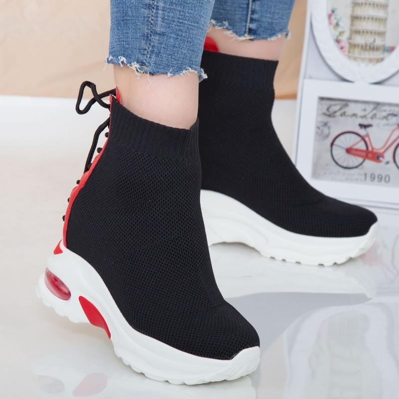 Pantofi Sport cu Platforma Dama SZ172A Black-Red Mei