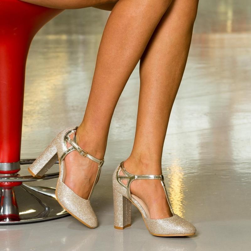 Pantofi cu Toc XKK150 Gold Mei