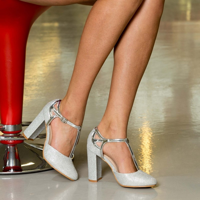 Pantofi cu Toc XKK150 Silver Mei