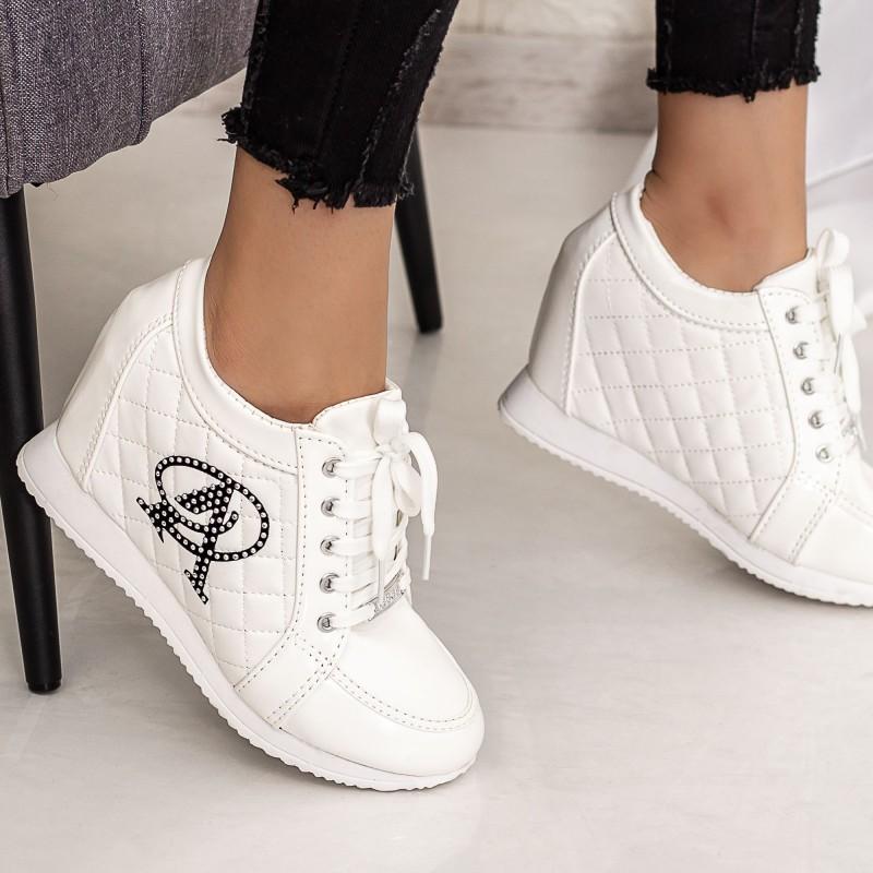 Pantofi Sport Dama cu Platforma 718 Alb Mei