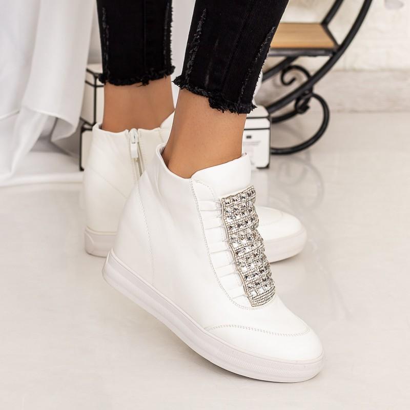 Pantofi Sport Dama cu Platforma 832 Alb Mei