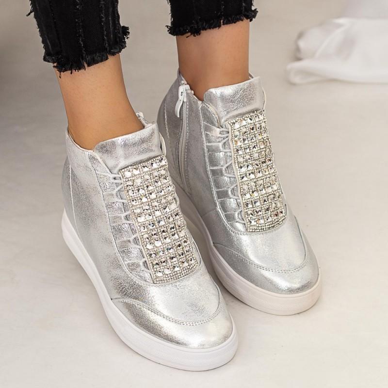 Pantofi Sport Dama cu Platforma 832 Argintiu Mei